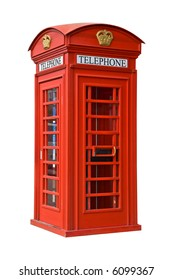 The British red phone booth isolated on white