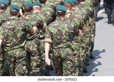 British Royal Marines marching