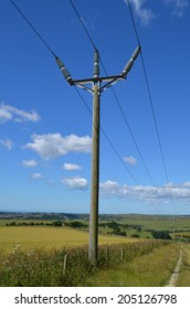 British rural wooden electricity pole.