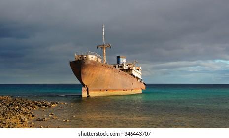 British ship Temple Hall near Arrecife, Lanzarote, Spain