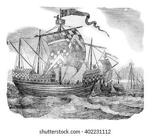 British ships during the reign of Edward IV, vintage engraved illustration. Colorful History of England, 1837.