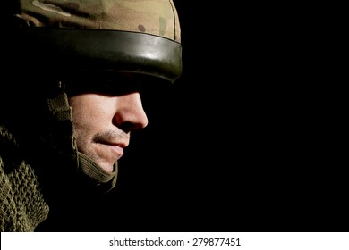 British Soldier With Face In Shadow