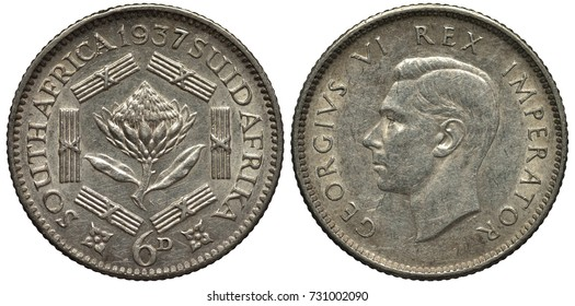 British South Africa African silver coin 6 six pence 1937, Protea flower surrounded by six designed bars, head of King George VI left,