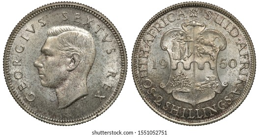 British South Africa silver coin 2 two shillings 1950, head of King George VI left, shield with designs divides date,