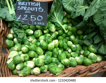 British Sprouts are on display in a cane basket in a farmer's market