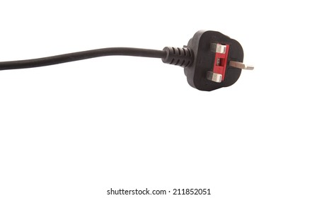 British Standard three pin AC power plugs over white background