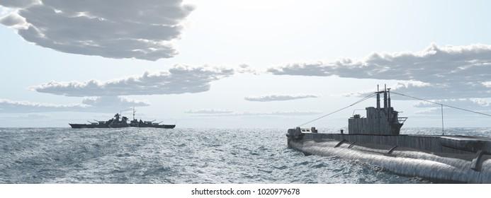 British submarine and German battleship of World War II Computer generated 3D illustration