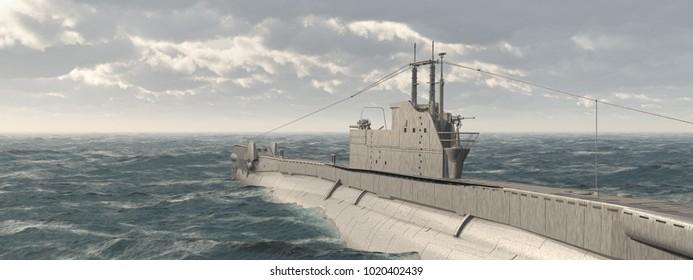 British submarine of World War II Computer generated 3D illustration