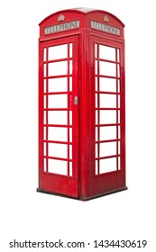 British telephone booth isolated on white background