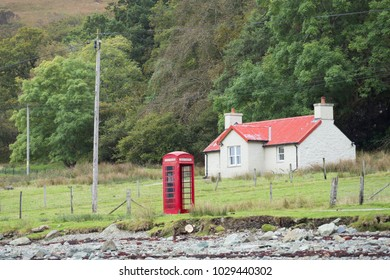 British Telephone Booth in Rural Area