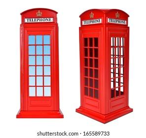 British telephone box, isolated on a white background.