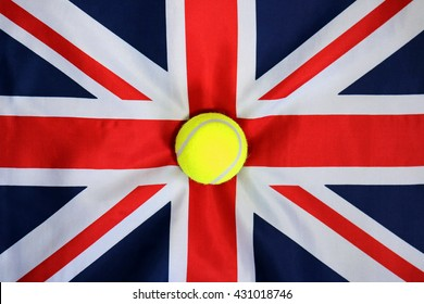 british tennis, tennis ball placed on to a union flag, background