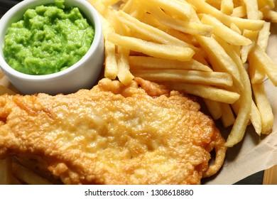 British Traditional Fish and potato chips, closeup view