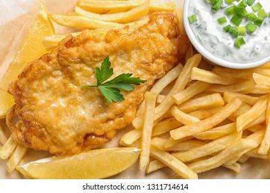 British traditional fish and potato chips, closeup