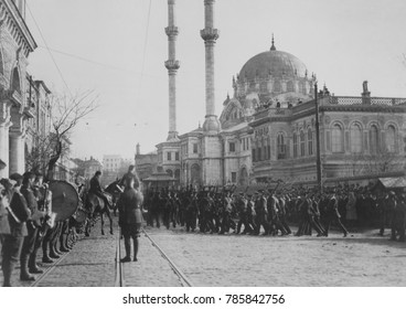 British troops marching by Nusretiye Mosque in Istanbul in 1920. Armistice of Mudros and Treaty of Sevres (Aug. 10, 1920) severely punished Turkey for its alliance with the Central Powers and the Arm