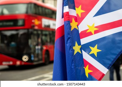 British Union Jack and Eu flags flying