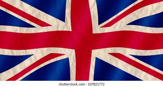 British Union Jack flag old crinkled effect.