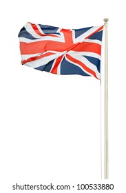 british union jack flag on a pole isolated on white background d291cd225d91
