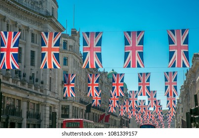 British Union Jack flags in London Regent street