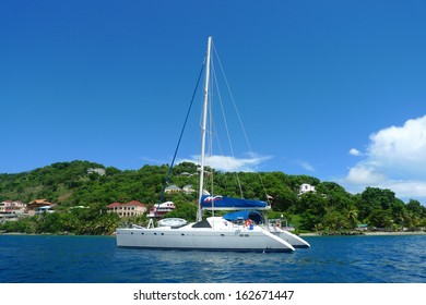 BRITISH VIRGIN ISLANDS - JUNE 12: The Moorings charter yacht near Tortola on June 12, 2010. The Moorings is the the world's leading bareboat yacht charter company