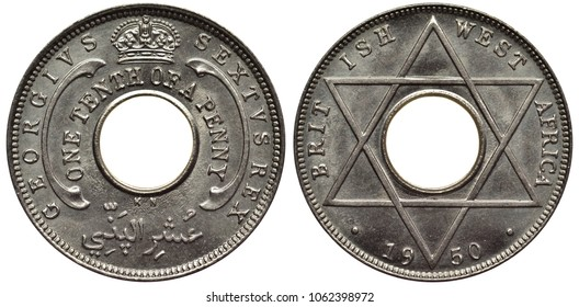 British West Africa coin 1/10 one tenth of a penny 1950, value in words around center hole, crown above, ruler George VI as King, six pointed star, date below,