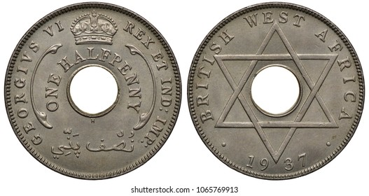 British West Africa coin 1/2 halfpenny 1937, first year of issue under name of King George VI, value in words around center hole, crown above, six pointed star, date below,