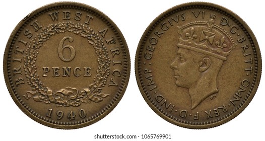 British West Africa coin 6 six pence 1940, denomination within circular wreath, date below, head of King George VI left, colonial time,