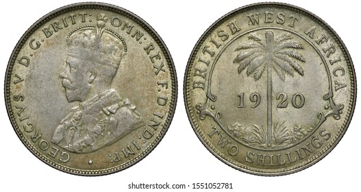 British West Africa silver coin 2 two shillings 1920, bust of King George V left, palm tree divides date within central circle, denomination below,