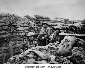 British World War 1 soldiers in a front Line trench. 1915-18.