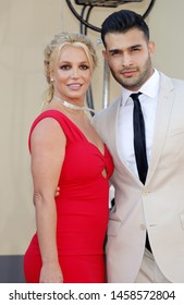 Britney Spears and Sam Asghari at the Los Angeles premiere of 'Once Upon a Time In Hollywood' held at the TCL Chinese Theatre IMAX in Hollywood, USA on July 22, 2019.