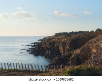 Brittany coast and sea in the evening