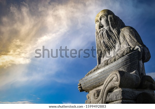 Carnoët, Brittany France March 22th 2017: Malo statue in Brittany Valley of the Saints