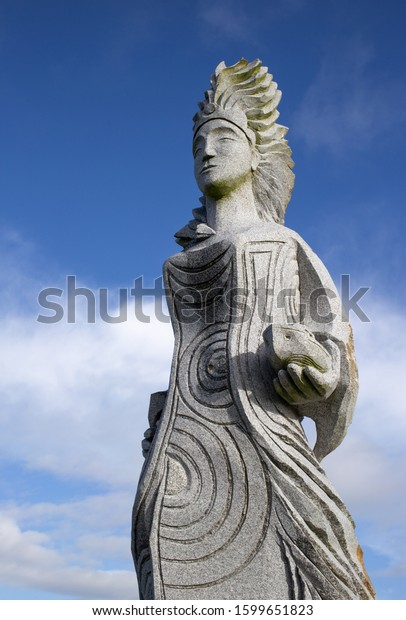 Carnoët, Brittany France March 22th 2017: Thumette - Tunvez statue in Brittany Valley of the Saints