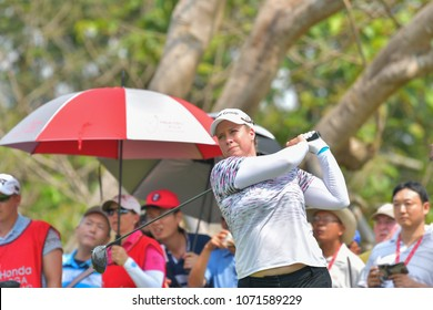 Brittany Lincicome of USA in Honda LPGA Thailand 2018 at Siam Country Club, Old Course on February 25, 2018 in Pattaya Chonburi, Thailand.