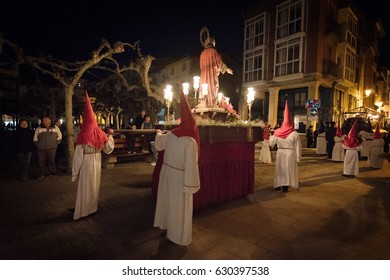 Briviesca, Spain - April 14, 2017: Easter holy week night procession on April 14, 2017 in Briviesca, Burgos, Spain.
