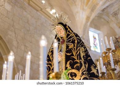 Briviesca, Spain - March, 31, 2018: image of virgin Mary, interior of the Church of Saint Mary. Holy Week (Semana Santa) in Briviesca, Burgos province , Spain.