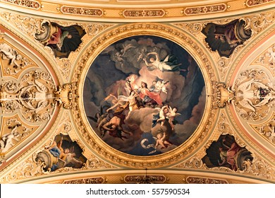 Brixen, Italy - December 26, 2016: Painting decorated ceiling of the cathedral.