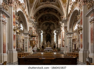 Brixen, Italy - October 9, 2020: Interior of the Stiftskirche Unserer Lieben Frau in the monastery of Abbazia di Novacella, Kloster Neustift in the Dolomites, Italy.