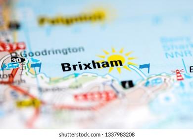 Brixham. United Kingdom on a geography map