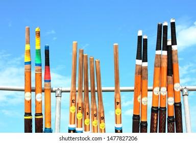 BRIXHAM,DEVON,GREAT BRITAIN/JULY 10TH, 2019 Regatta rowing oars after veteran gig club regatta race