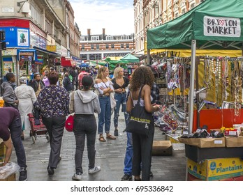 BRIXTON, LONDON- August 2017:  Busy food and goods market on Brixton's Electric Avenue