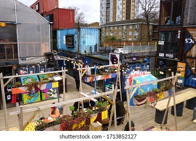 Brixton / London UK -  February 22 2020: POP Brixton, bars and street food outlets set in reused shipping containers