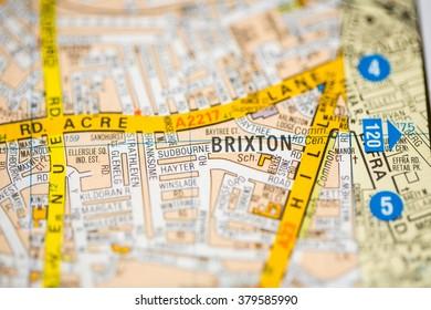 Brixton. London, UK map.