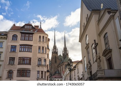 Brno Cathedral of saints peter and paul, seen from the bottow of Petrov Hill. Also called katedrala svateho petra a pavla, it is a landmark of Brno, Moravia.   - Shutterstock ID 1743065057