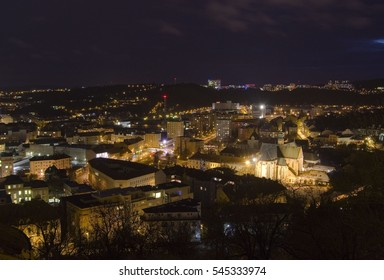 Brno city - Mendel square with Basilica (Nanebevzeti Panny Marie) and Saint Thomas abbey, view from Spilberk castle. Central Europe - Czech Republic.