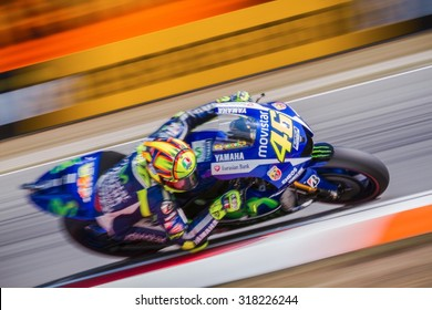 BRNO, CZ - AUGUST 14: Valentino Rossi of Yamaha Factory Racing MotoGP team at Czech Republic Grand Prix on August 14, 2015 in Brno, Czech Republic.