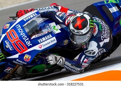 BRNO, CZ - AUGUST 15: Jorge Lorenzo of Yamaha Factory Racing MotoGP team at Czech Republic Grand Prix on August 15, 2015 in Brno, Czech Republic.