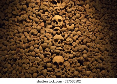 BRNO, CZECH - DECEMBER 15, 2016: - interior of the Ossuary of St James Church on Jakubske square in Brno. it was a big collection of bones estimated to have belonged to in excess of 50000 people
