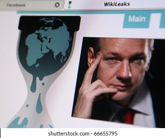 BRNO, CZECH REP. - DECEMBER, 6: WikiLeaks is an international non-profit organization that publishes submissions of otherwise unavailable documents from anonymous news sources and leaks. View of the WikiLeaks homepage featuring its founder Julian Assange