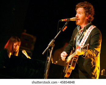 BRNO, CZECH REP - FEB 2: Musicians Marketa Irglova (L) and Glen Hansard (R) perform at the concert February 2, 2010 in Brno. They started their European tour to promote the new album Strict Joy.